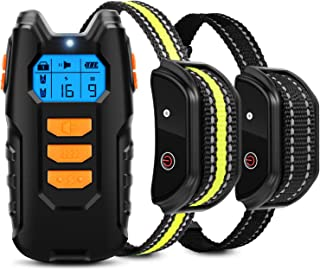 Flittor Dog Training Collar, Shock Collar for Dogs with Remote, 2 Receiver Rechargeable Dog Shock Collar, 3 Modes Beep Vib...