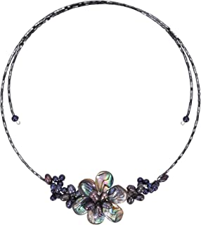 AeraVida Gradual Flower Cultured Freshwater Black Pearls and Mother of Pearl Cluster Choker Wrap Handmade Necklace