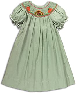 Rosalina Girl's Turkey Pumpkin Moss Green Hand Smocked Fall Bishop Dress 6Y