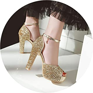 Dream-catching Summer Sandals Sexy Bride Wedding Party Shoes Peep Toe Thick Heel Platform Sandals Shoes Woman