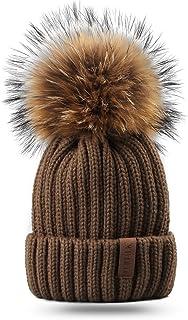 FURTALK Kids Winter Pom Beanie Hat Unisex Parent-Child Knit Hats for Women Girls Boys