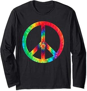 Hippie Tie Dye For Women Or Men 70s Peace Sign Long Sleeve T-Shirt