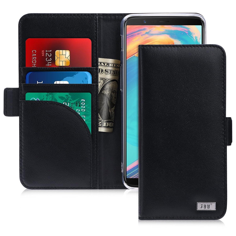 OnePlus 5T ケース,Fyy [RFIDブロッキング] [高級本革] 100%手作り 耐衝撃 横開き 手帳型 保護ケース カード収納 定期入れ スタンド機能付き マグネット式 財布型カバー スマホケース ブラック
