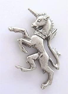 UK Royal Coat of Arms Scottish Unicorn Pin Badge Made in Polished English Pewter