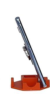 Suporte de Mesa para Celular ou Tablet serve em todos os aparelhos - Modelo Octagonal (Laranja)