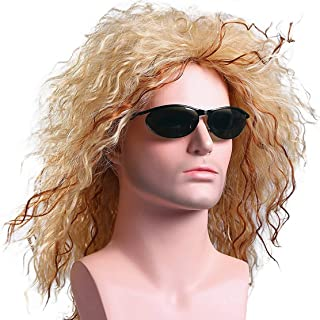 Menoqi Mens Retro 70s 80s Disco Rocker Long Curly Wig Full Hair Wig Fancy Party Accessory Cosplay Wig Mullet Wig (Golden) WIG135
