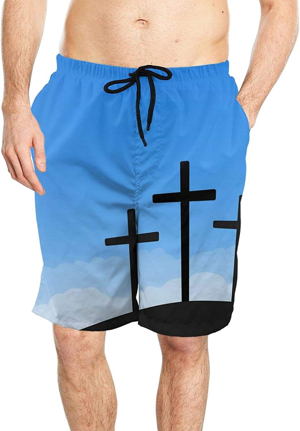 Outlet SALE Christmas Three Crosses On Blue Super sale Sky W Play Summer Men's Swimming