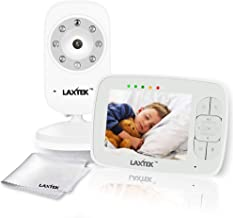 Laxtek Video Baby Monitor   3.5 Inch LCD Color Screen   Digital Wireless Night Vision Camera for Infant   Premium Long Range   Temperature Display, Calming Night Lullabies, Two Way Audio Baby Monitor
