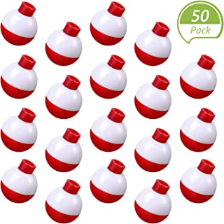 Syhood 50 Pieces 1 Inch Fishing Bobbers Float Bobbers Push Button Round Buoy Floats for Fishing Tackle Accessories