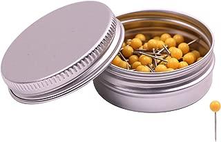 PTC Office 1/8 Inch Map Tacks DIY Craft Plastic Round Head Push Pins (Yellow, 100PCS)