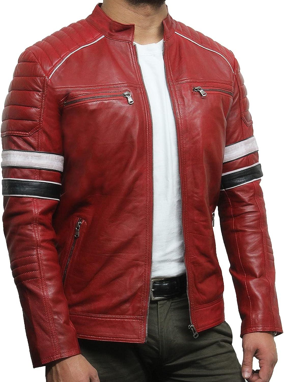 Black Leather Jacket Mens - Cafe Racer Real sheepskin Leather Distressed Motorcycle Jacket