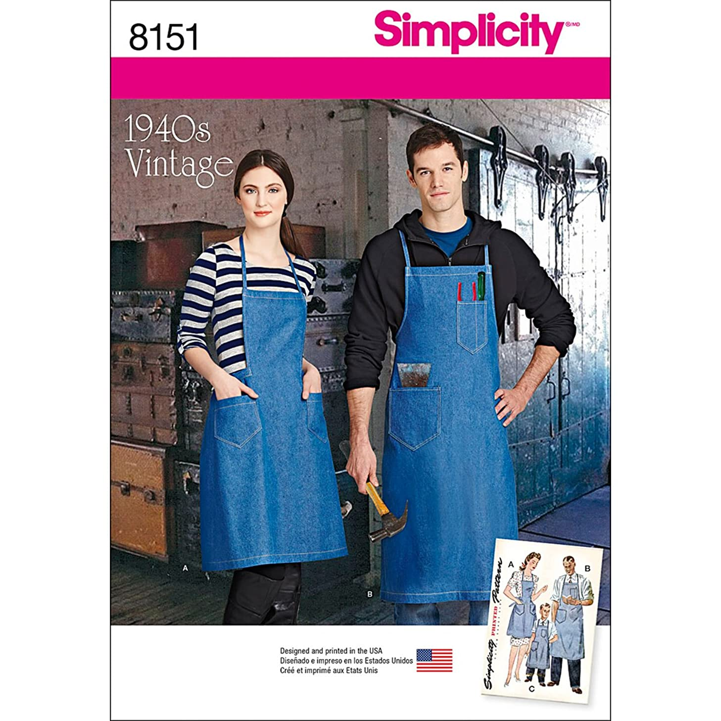 Simplicity Creative Patterns Simplicity Pattern 8151 Vintage Aprons for Boys, Girls, Misses and Men, Size: A