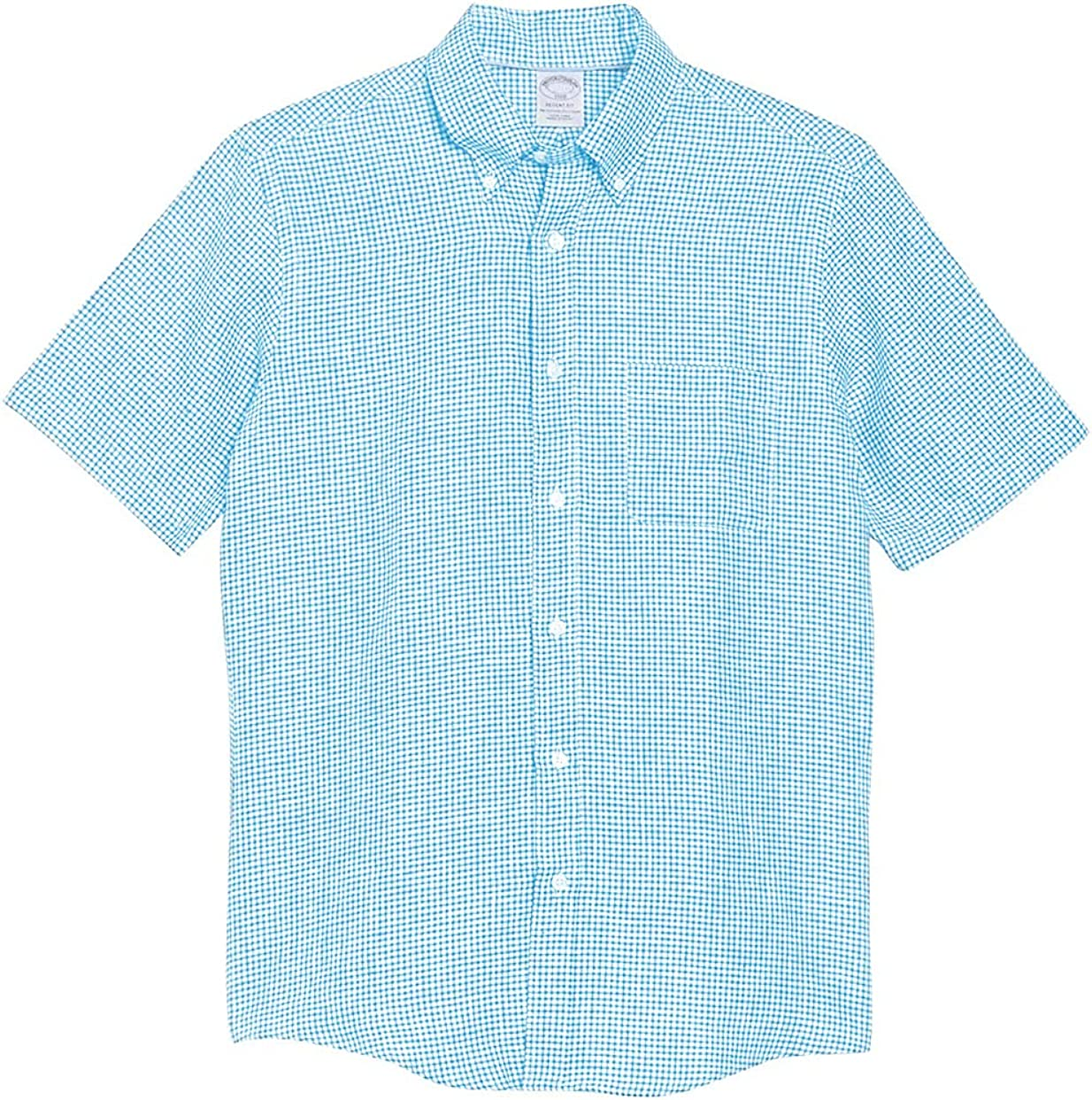 Brooks Brothers Men's Regent Fit All Linen Short Sleeve Casual Button Down Shirt Gingham Plaid