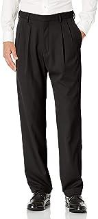 Haggar Men's Mynx Gabardine Pleat-Front Dress Pant with Hidden Expandable Waist