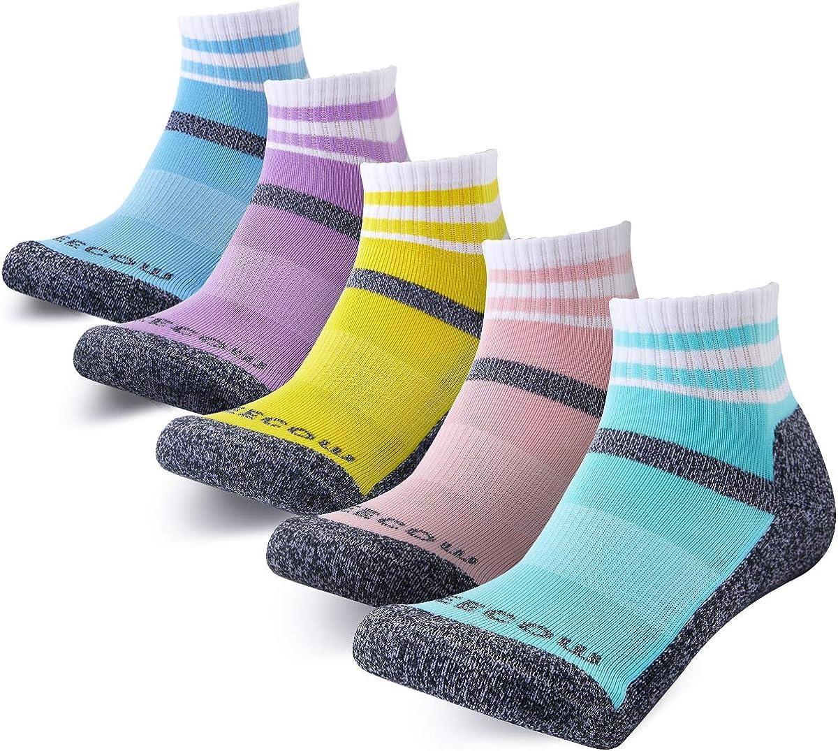 KEECOW Hiking Socks For Men & Women 5 Pairs Cushioned Moisture Control Crew Quarter Socks For Running,Work,Trekking,Walking