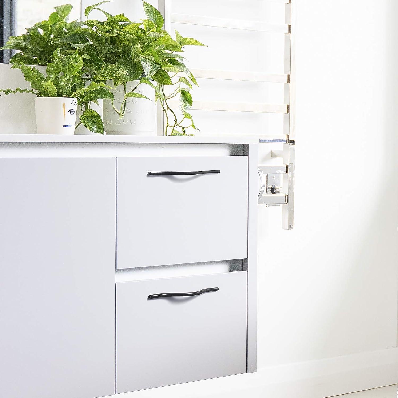 Hole Center Arch Cabinet Pulls Modern Minimalist Drawer Handles 160mm 6 Pack Matte Black 6.3