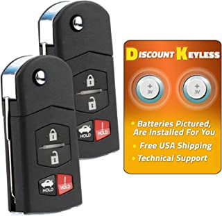 Discount Keyless Car Remote Entry Replacement Uncut Flip Ignition Key Fob For Mazda 6 RX-8 KPU41788 (2 Pack)
