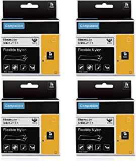 Compatible Industrial Dymo 18489 Rhino Flexible Nylon 19mm 3/4 inch Vinyl Wire Labels Tape, Use with DYMO LabelWriter Industrial Label Makers Rhino 5200 4200 5000 and More,Black on White,11.5ft, 4Pack