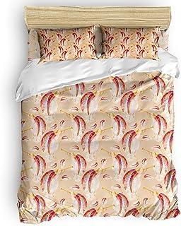 掛け布団カバー 4点セット 翼 天使 寝具カバーセット ベッド用 べッドシーツ 枕カバー 洋式 和式兼用 布団カバー 肌に優しい 羽毛布団セット 100%ポリエステル セミダブル