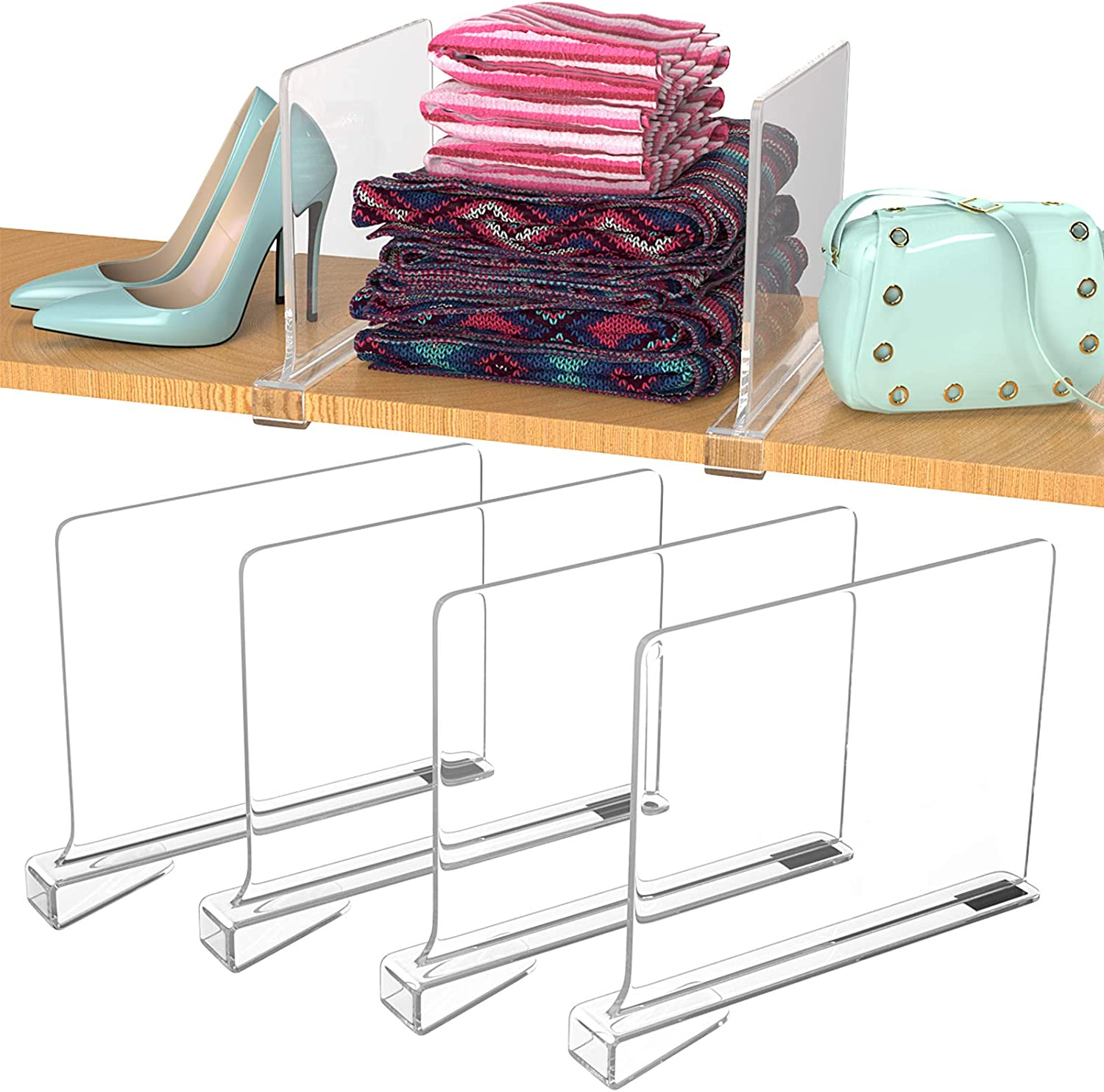 Max 67% OFF 4 Pack Daily bargain sale Closet Shelves Shelf Dividers Acrylic for Clear Closets