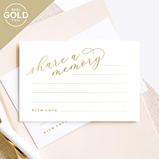 Bliss Collections Gold Share A Memory Cards — Perfect for: Funeral, Celebration of Life, Memorial, Retirement, Going Away Party, Birthday, Graduation, Wedding, 50 Pack of 4x6 Cards