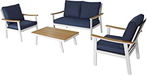 Great Deal Furniture Agnes Outdoor 4 Piece Aluminum and Faux Wood Chat Set with Cushions, White and Navy Blue