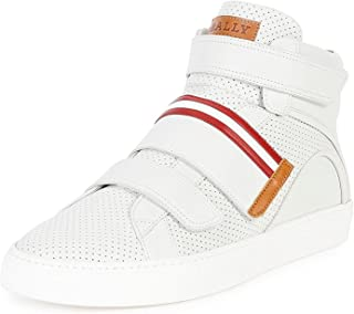 BALLY Herick Perforated Leather High-Top Sneaker, White