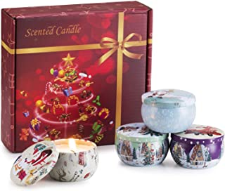 Scented Candles Set for Christmas-Candles for Home Scented,Stress Relief Soy Candles 2.5 Oz,Travel Tin Rela...