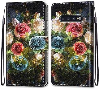جراب محفظة ملون لهاتف Samsung Galaxy S10 Plus، جراب قلاب مغناطيسي من الجلد الصناعي مع فتحات للبطاقات وحزام معصم