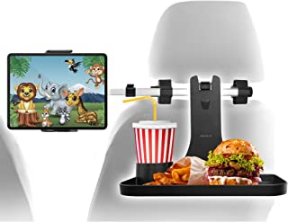"""Macally Headrest Tablet Holder for Car with Food Tray - Backseat Entertainment and Snacks for Kids - For Devices 4.5-10"""" W..."""