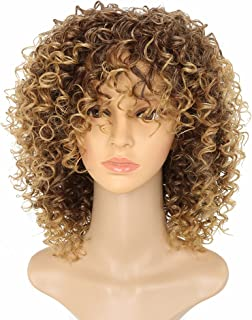 MARIAN Women's African American Wigs Synthetic Curly Style Brown Wigs