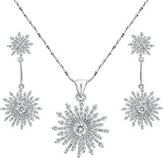 Women's 925 Sterling Silver CZ Elegant Snowflake Necklace Earrings Set Clear