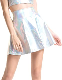 Women's Casual Fashion Shiny Metallic Flared Pleated A-Line Mini Skirt for Women Nightout Wear