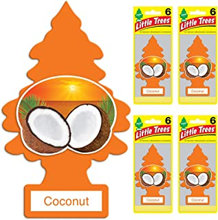Little Trees Car Air Freshener | Hanging Tree Provides Long Lasting Scent for Auto or Home | Coconut, 6-Packs (4 Count)