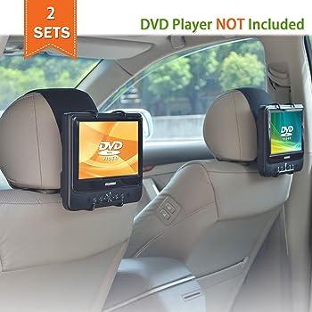 WANPOOL Support Appuie-tête Voiture Universel pour Lecteurs DVD Portables à écran Inclinable de 7 à 10 Pouces - 2 Pièces (n'inclut pas de lecteur DVD)