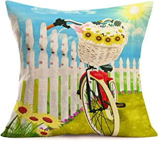 Smilyard Rustic Farmhouse Pillow Covers Outdoor Bicycle SunflowerDaisy Decor Camping Pillows Cover Cotton Linen 18x18 Inches Red Bike with Flowers Cushion Cover for Lawn Yard Sofa Couch (Red Bike)