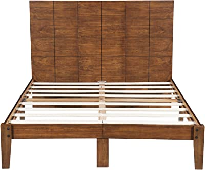 c2e01ef24719 SLEEPLACE SVC48SF01F 48 Inch Tall Headboard Platform Slats Bed Frame Full  Natural