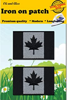 A-130, Extra Strong Glue 2 Pieces Patches Iron on Canada Flag(Black-Gray) Embroidered Patch Iron on Canadian Maple Leaf Sew On National Emblem Approx. 2.9 x 1.96 inches (7.6 x 5 cm)