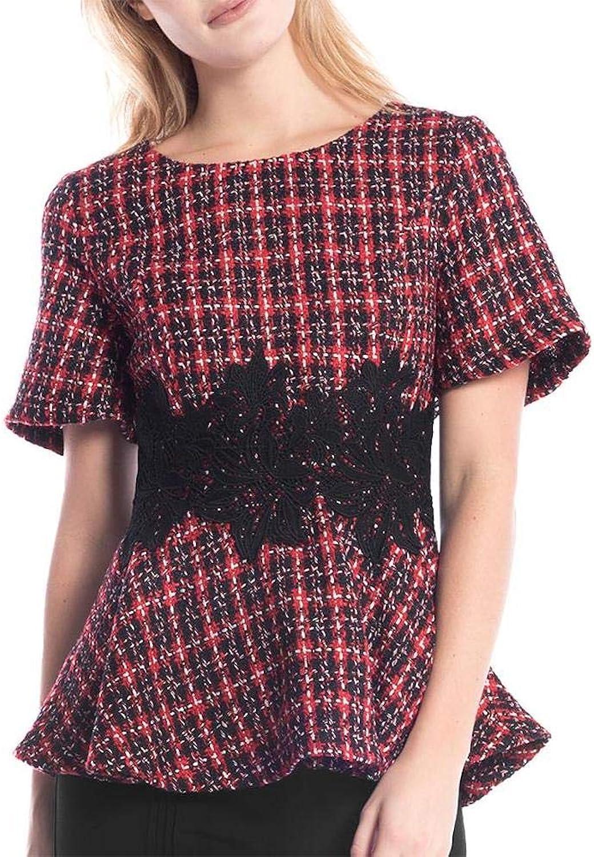 Gracia Tweed Peplum Lace Top