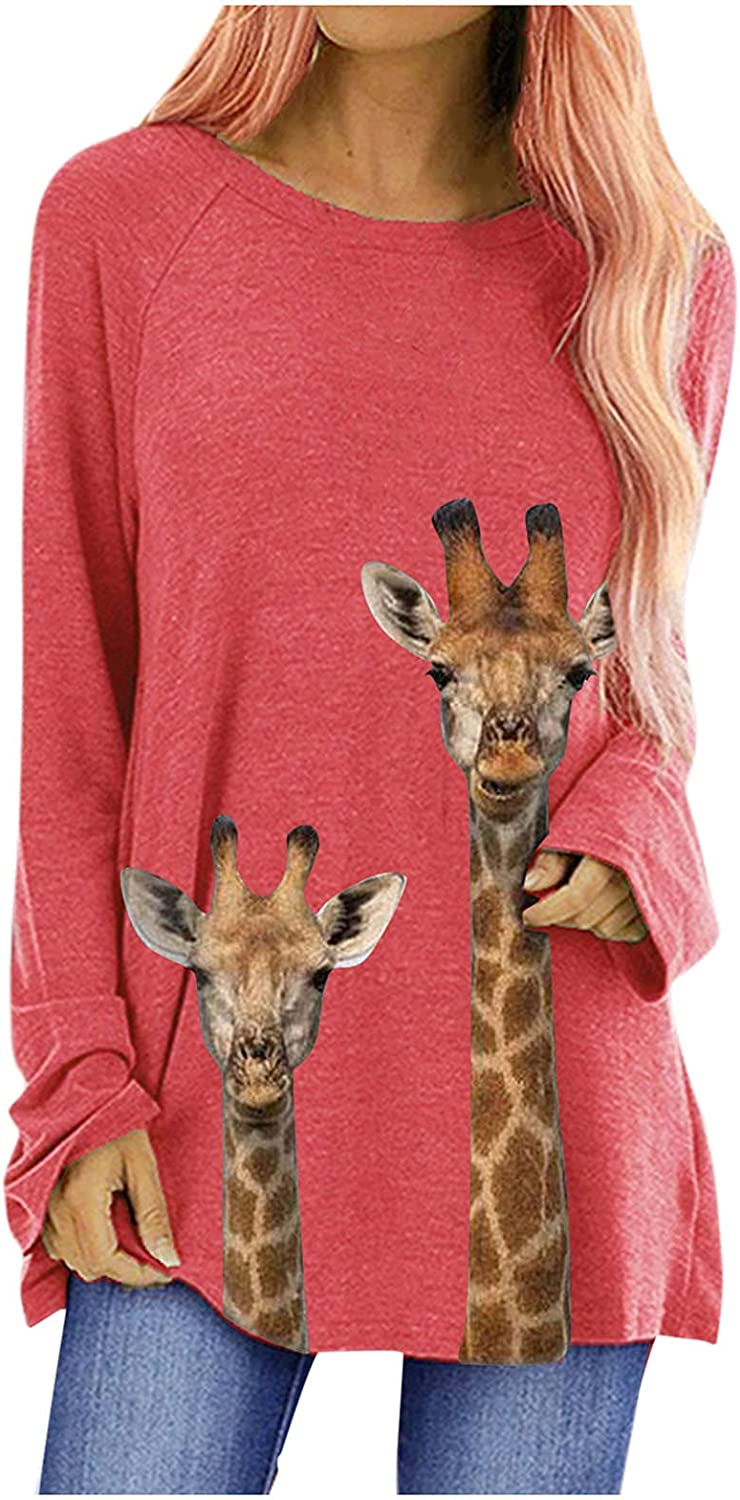 VEKDONE Women Long Sleeve Tops Round Neck Solid Color Reindeer Printed Workout Shirts Tunic Blouse Fall Clothes Plus Size