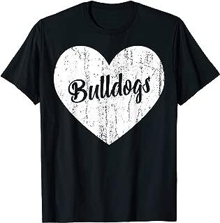 Bulldogs School Sports Fan Team Spirit Mascot Heart Gift T-Shirt