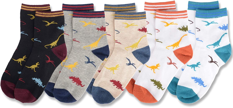 Boys Socks Dinosaur Kids Socks Cartoon Pattern Cotton Crew Socks