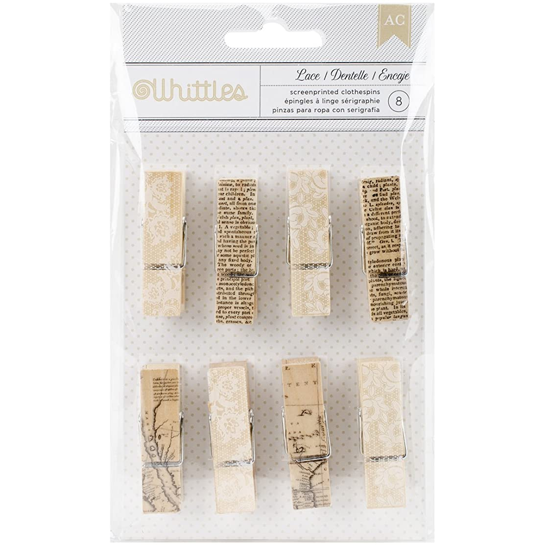 American Crafts Printed Clothespins Newsprint and Lace (8 Piece)