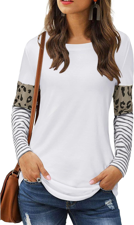 LAISHEN Women's Leopard Limited time cheap sale Print Import Patchwork Round Block Tunic Color