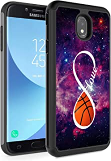 Galaxy J7 2018 Case,J7 Refine/J7 Star/J7 Aura/J7 Aero/J7 Top/J7 Crown Case, Rossy Hybrid TPU Plastic Dual Layer Armor Defender Phone Case for Samsung Galaxy J7 2018,Infinity Basketball Forever Love