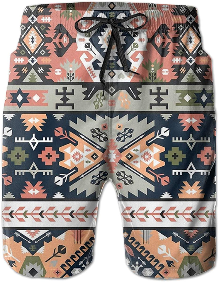 Mens Floral Llama Pattern Printed Funny Swim Trunks Quick Dry Beachwear Sports Running Swim Board Shorts
