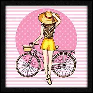 ArtX Paper Women Pop Cycle Art Framed Wall Art Painting, Multicolor, Vintage, 13 X 13 inches, Set of 1