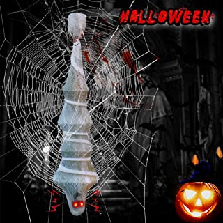 Halloween Decorations Outdoor Cocoon Corpse Halloween Decor Props Indoor with Glowing Eyes, 75 Inch