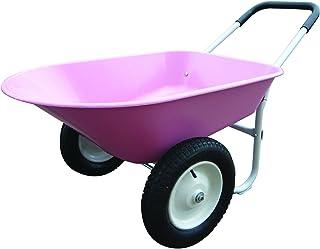 Marathon Dual-Wheel Residential Yard Rover Wheelbarrow and Yard Cart – Pink