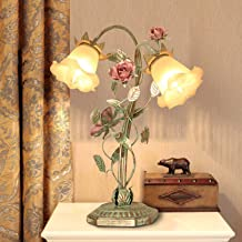 Romantic Rose Table Lamp Tiffany Style Retro Stained Glass Desk Light Pastoral Floral Night Lights for Living Room Cafe Be...
